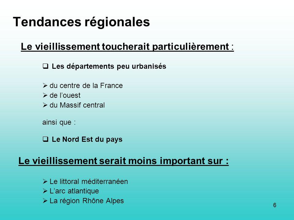6 Tendances régionales Le vieillissement toucherait particulièrement : Les départements peu urbanisés du centre de la France de louest du Massif centr