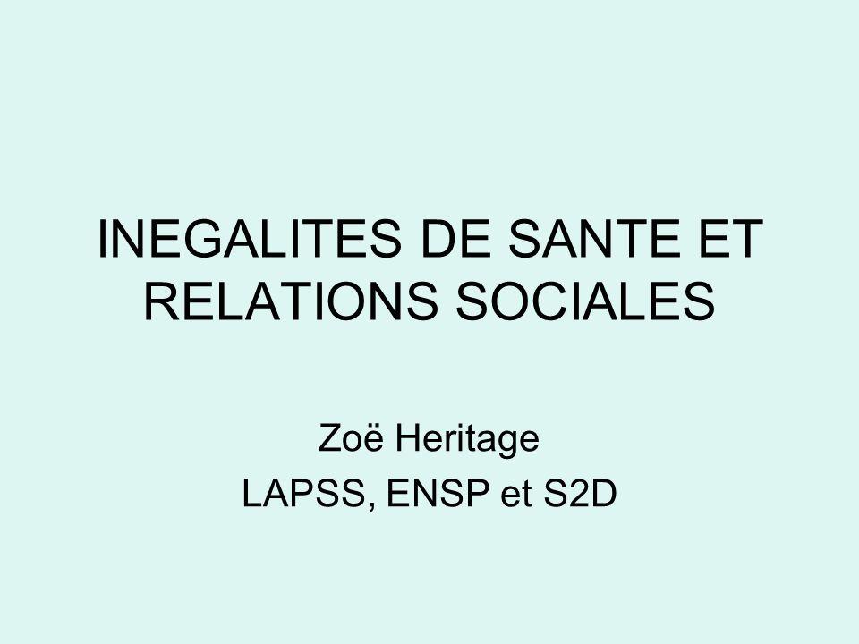 INEGALITES DE SANTE ET RELATIONS SOCIALES Zoë Heritage LAPSS, ENSP et S2D