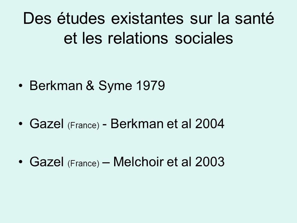 Des études existantes sur la santé et les relations sociales Berkman & Syme 1979 Gazel (France) - Berkman et al 2004 Gazel (France) – Melchoir et al 2