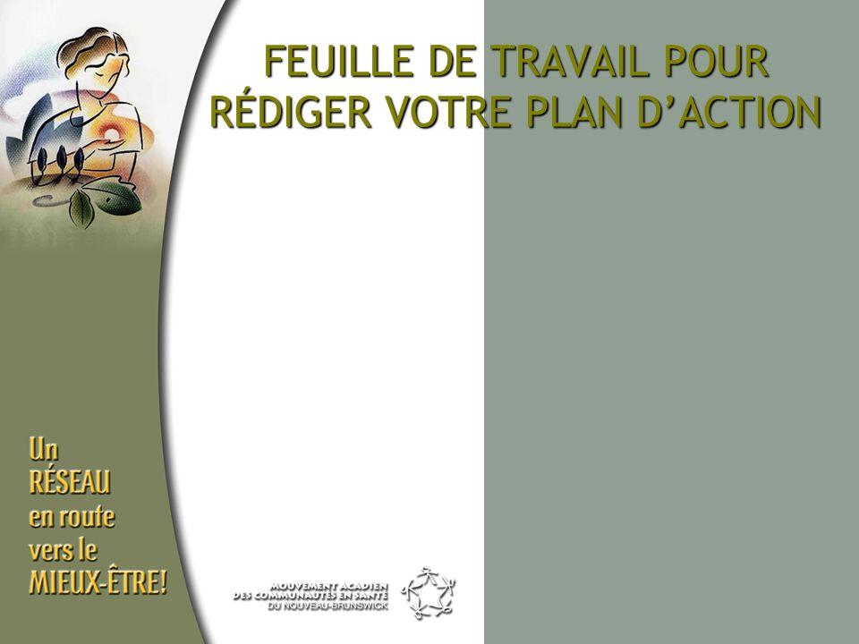 FEUILLE DE TRAVAIL POUR RÉDIGER VOTRE PLAN DACTION