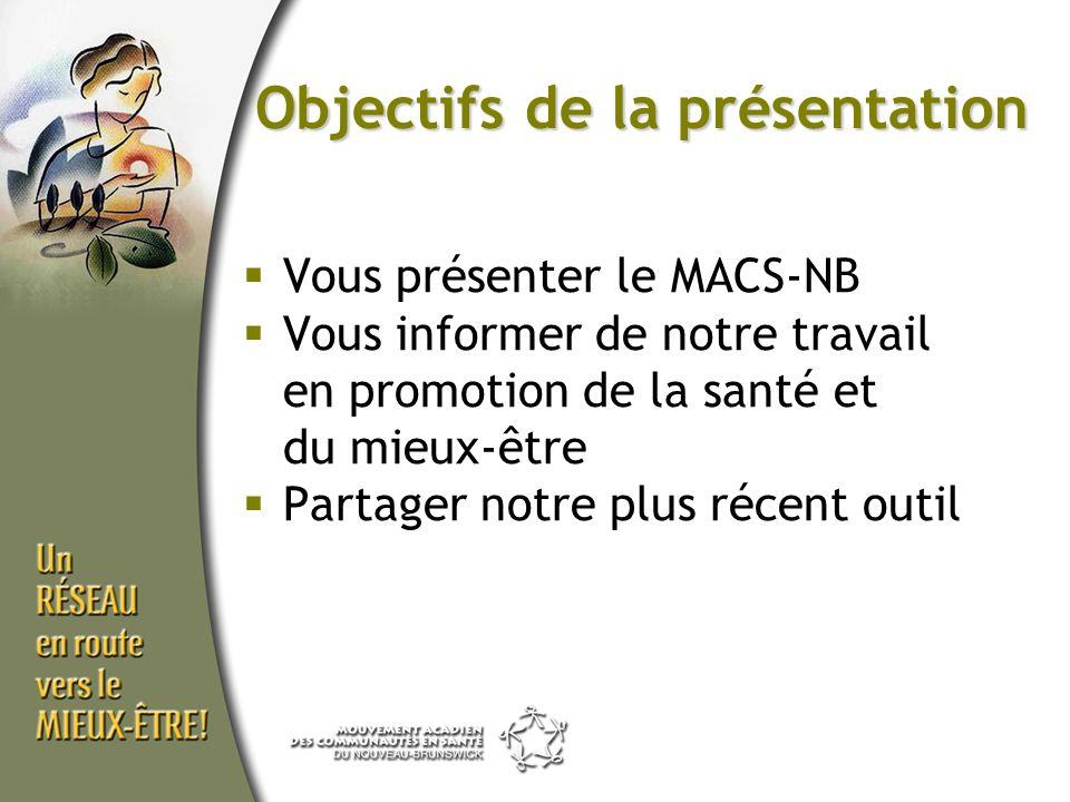Objectifs de la présentation Vous présenter le MACS-NB Vous informer de notre travail en promotion de la santé et du mieux-être Partager notre plus ré