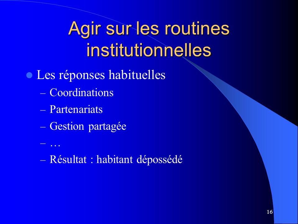 16 Agir sur les routines institutionnelles Les réponses habituelles – Coordinations – Partenariats – Gestion partagée – … – Résultat : habitant dépossédé