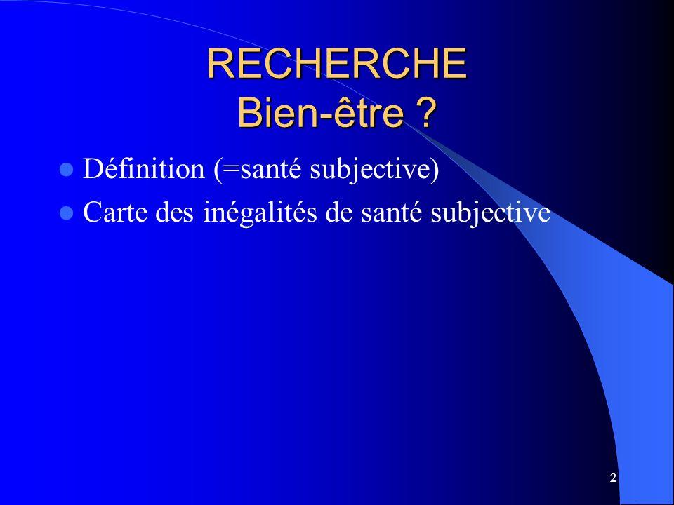 2 RECHERCHE Bien-être Définition (=santé subjective) Carte des inégalités de santé subjective