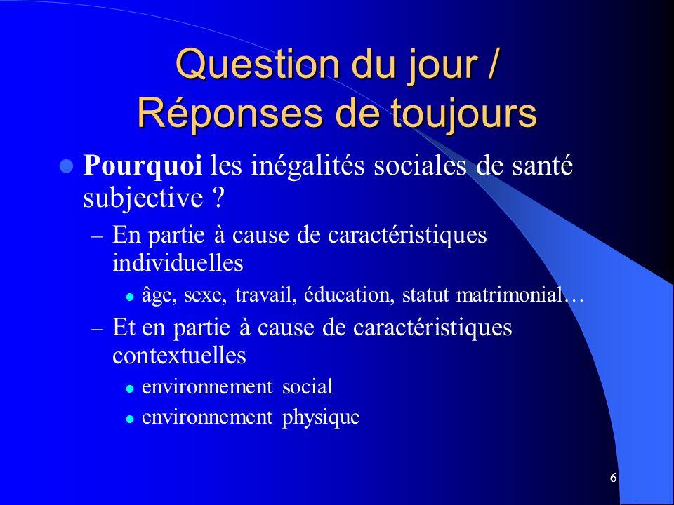 6 Question du jour / Réponses de toujours Pourquoi les inégalités sociales de santé subjective ? – En partie à cause de caractéristiques individuelles