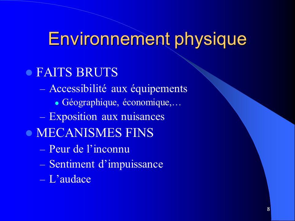 8 Environnement physique FAITS BRUTS – Accessibilité aux équipements Géographique, économique,… – Exposition aux nuisances MECANISMES FINS – Peur de l