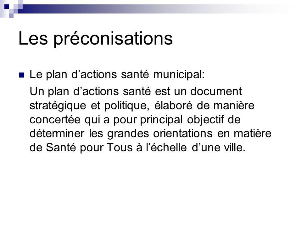 Les préconisations Le plan dactions santé municipal: Un plan dactions santé est un document stratégique et politique, élaboré de manière concertée qui a pour principal objectif de déterminer les grandes orientations en matière de Santé pour Tous à léchelle dune ville.