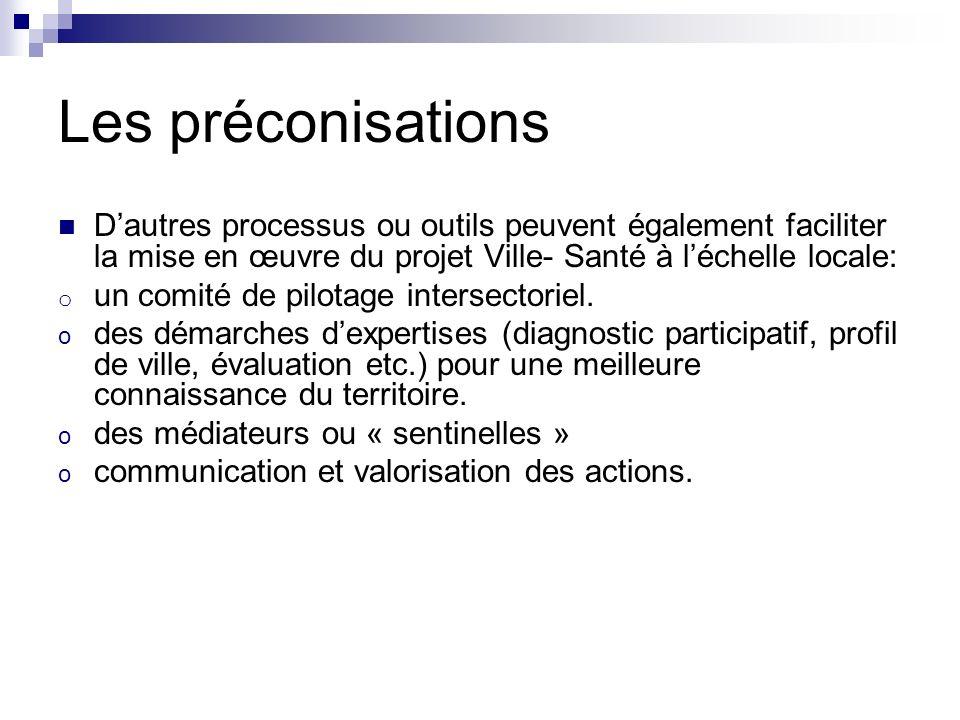 Les préconisations Dautres processus ou outils peuvent également faciliter la mise en œuvre du projet Ville- Santé à léchelle locale: o un comité de pilotage intersectoriel.