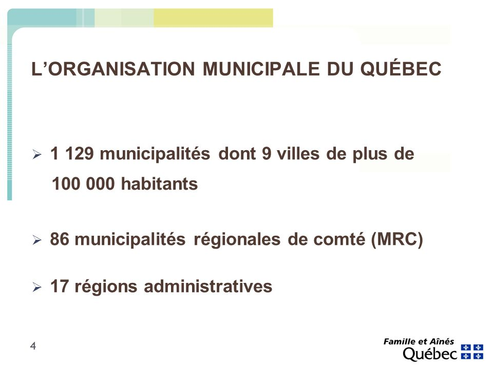 4 LORGANISATION MUNICIPALE DU QUÉBEC 1 129 municipalités dont 9 villes de plus de 100 000 habitants 86 municipalités régionales de comté (MRC) 17 régions administratives