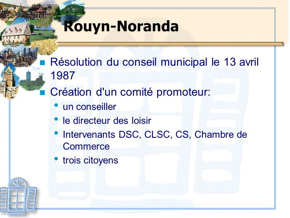 Rouyn-Noranda n Résolution du conseil municipal le 13 avril 1987 n Création d'un comité promoteur: un conseiller le directeur des loisir Intervenants