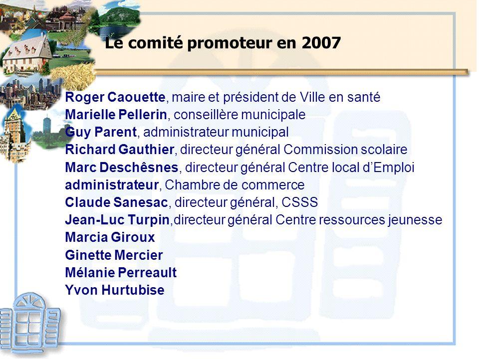 Le comité promoteur en 2007 Roger Caouette, maire et président de Ville en santé Marielle Pellerin, conseillère municipale Guy Parent, administrateur