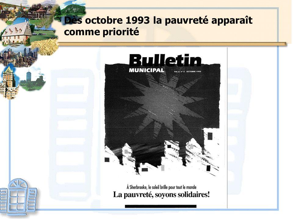 Dès octobre 1993 la pauvreté apparaît comme priorité