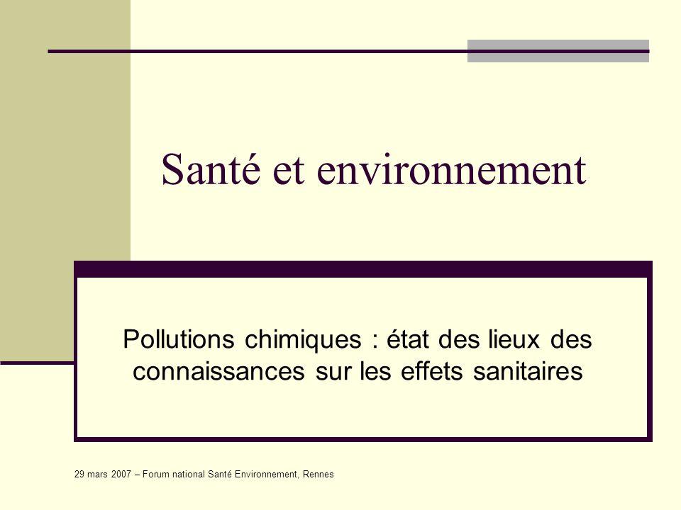 29 mars 2007 – Forum national Santé Environnement, Rennes La santé - environnementale « la santé environnementale comprend les aspects de la santé humaine, y compris la qualité de la vie, qui sont déterminés par les facteurs physiques, chimiques, biologiques, sociaux, psychosociaux et esthétiques de notre environnement.