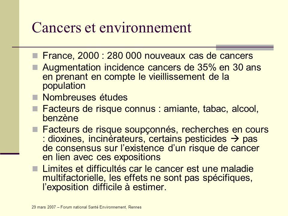29 mars 2007 – Forum national Santé Environnement, Rennes Cancers et environnement France, 2000 : 280 000 nouveaux cas de cancers Augmentation inciden