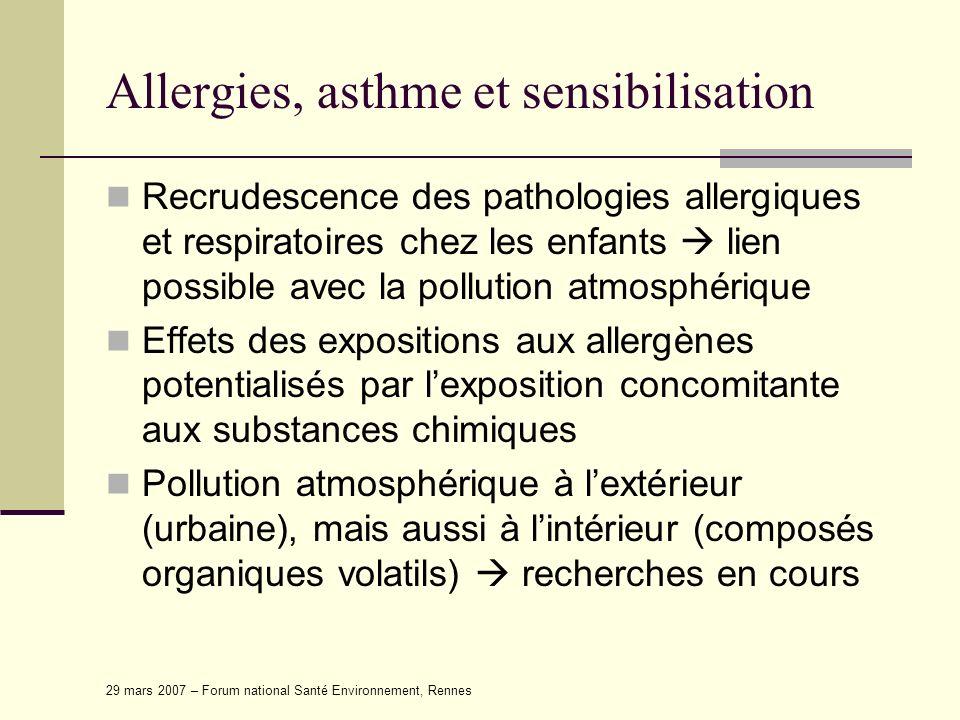 29 mars 2007 – Forum national Santé Environnement, Rennes Allergies, asthme et sensibilisation Recrudescence des pathologies allergiques et respiratoi