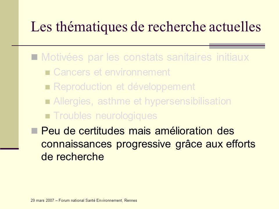 29 mars 2007 – Forum national Santé Environnement, Rennes Les limites scientifiques (1) Les expositions ne sont pas souvent quantifiées de manière précise : Parce quelles sont passées et les individus interrogés peuvent ne pas se souvenir, Parce quelles sont calculées à partir de modèles de dispersion dont les paramètres correspondent à des moyennes générales (pas toujours adaptés à un contexte) Parce quelles sont la plupart du temps uniquement qualitative (utilisation dun produit : oui / non)
