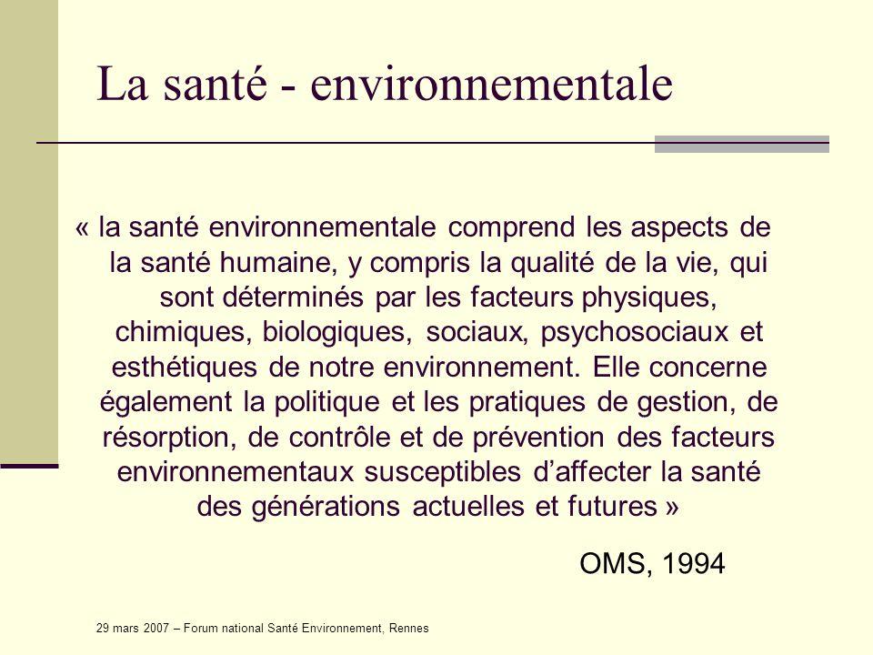 29 mars 2007 – Forum national Santé Environnement, Rennes La santé - environnementale « la santé environnementale comprend les aspects de la santé hum