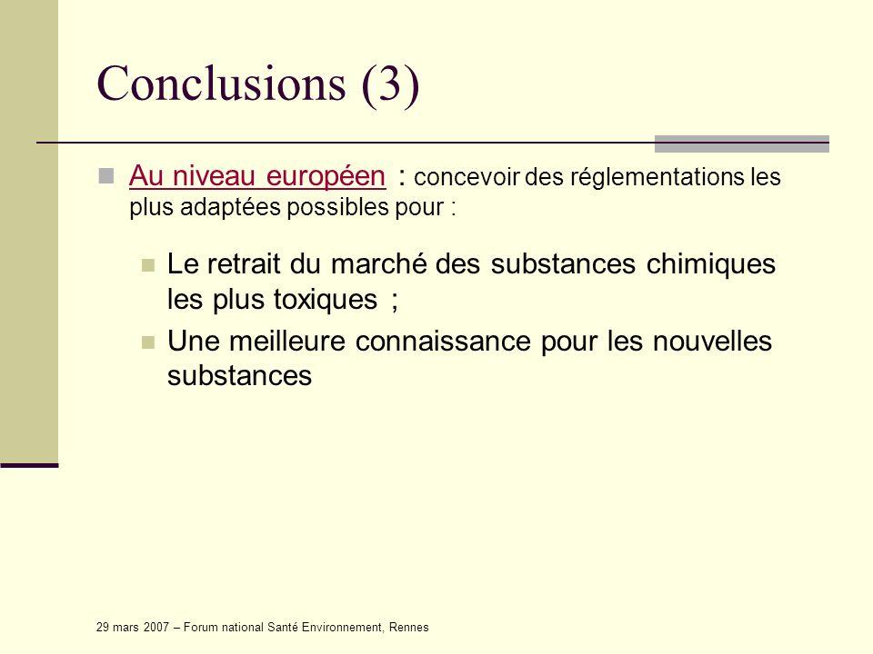 29 mars 2007 – Forum national Santé Environnement, Rennes Conclusions (3) Au niveau européen : concevoir des réglementations les plus adaptées possibl