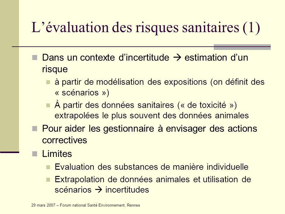 29 mars 2007 – Forum national Santé Environnement, Rennes Lévaluation des risques sanitaires (1) Dans un contexte dincertitude estimation dun risque à
