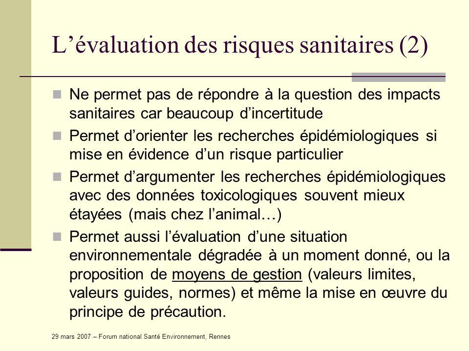 29 mars 2007 – Forum national Santé Environnement, Rennes Lévaluation des risques sanitaires (2) Ne permet pas de répondre à la question des impacts s