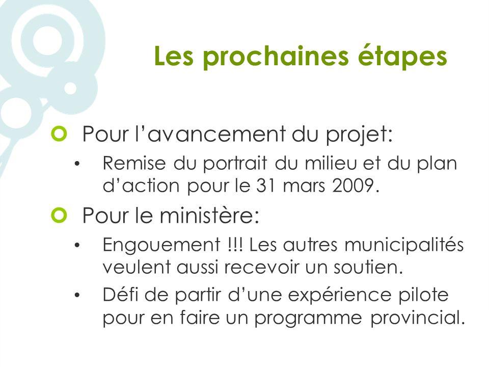 Les prochaines étapes Pour lavancement du projet: Remise du portrait du milieu et du plan daction pour le 31 mars 2009.