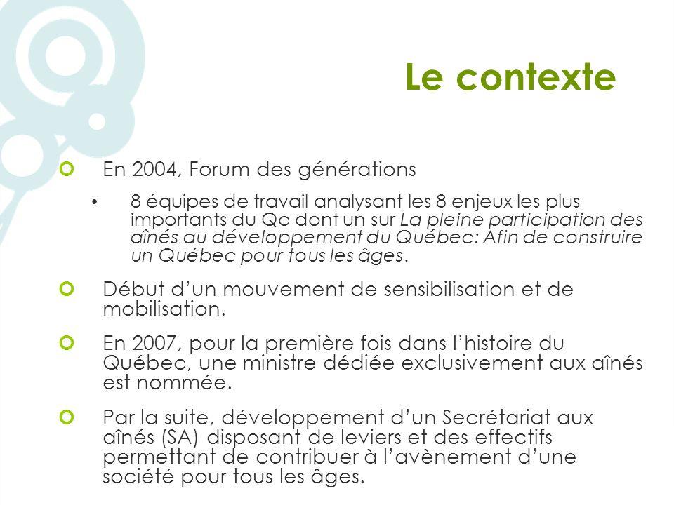Le contexte En 2004, Forum des générations 8 équipes de travail analysant les 8 enjeux les plus importants du Qc dont un sur La pleine participation des aînés au développement du Québec: Afin de construire un Québec pour tous les âges.