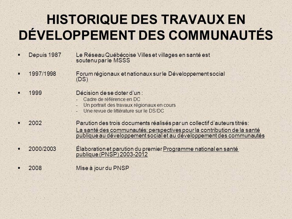 HISTORIQUE DES TRAVAUX EN DÉVELOPPEMENT DES COMMUNAUTÉS Depuis 1987Le Réseau Québécoise Villes et villages en santé est soutenu par le MSSS 1997/1998F