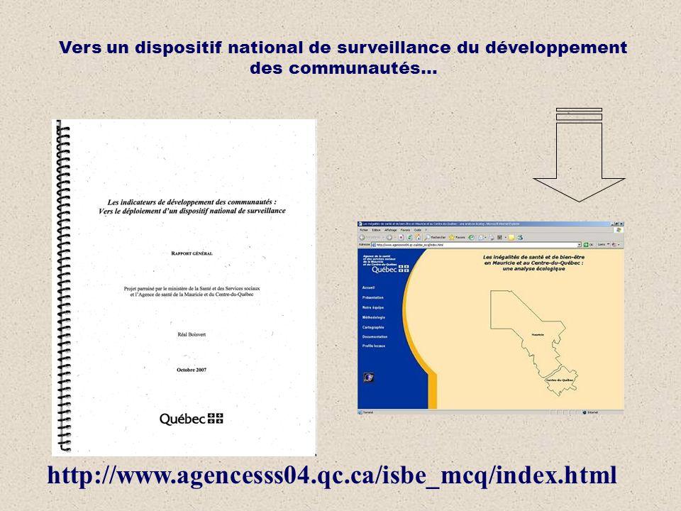 http://www.agencesss04.qc.ca/isbe_mcq/index.html Vers un dispositif national de surveillance du développement des communautés…