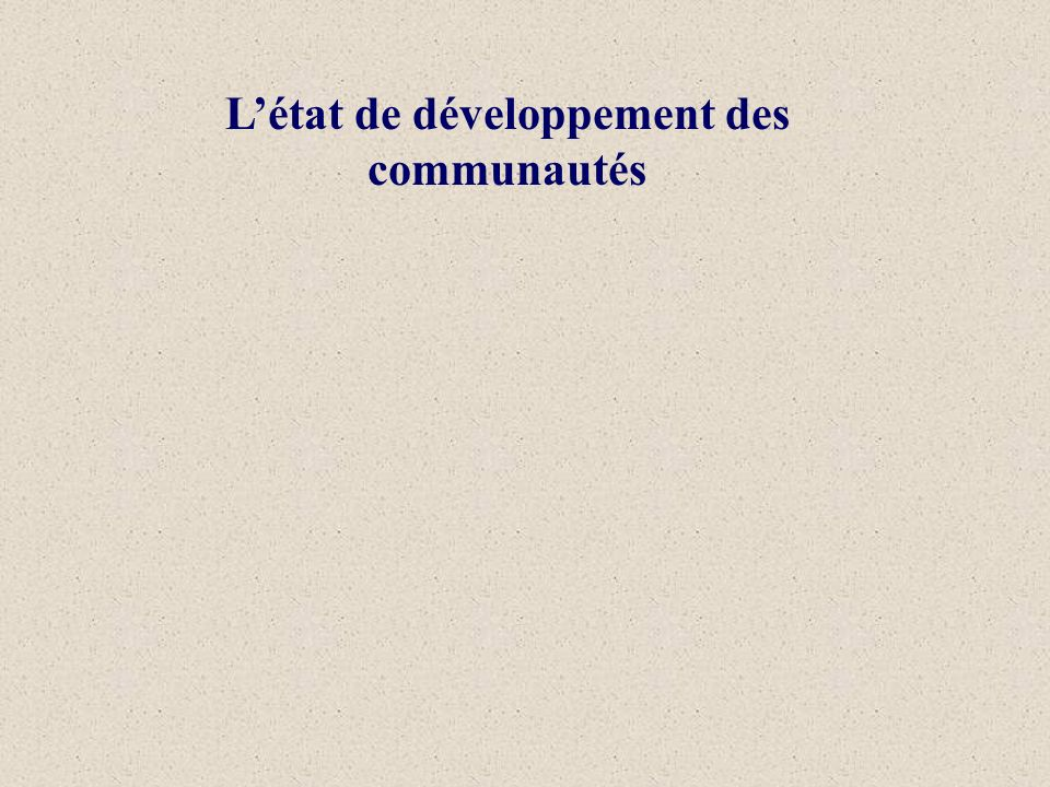 Létat de développement des communautés