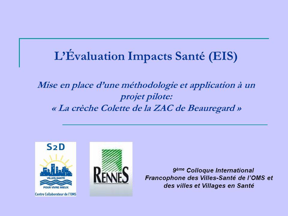 LÉvaluation Impacts Santé (EIS) Mise en place dune méthodologie et application à un projet pilote: « La crèche Colette de la ZAC de Beauregard » 9 ème