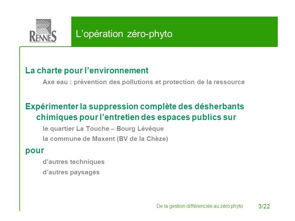 De la gestion différenciée au zéro phyto 4/22 Lopération zéro-phyto Approche technique Diagnostic sur les types despaces et leur entretien Abandon de lusage des désherbants chimiques.