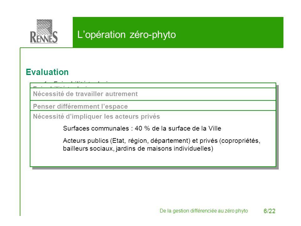 De la gestion différenciée au zéro phyto 6/22 Lopération zéro-phyto Evaluation 1.Faisabilité technique. 2.Nécessité de travailler autrement. 3.Penser