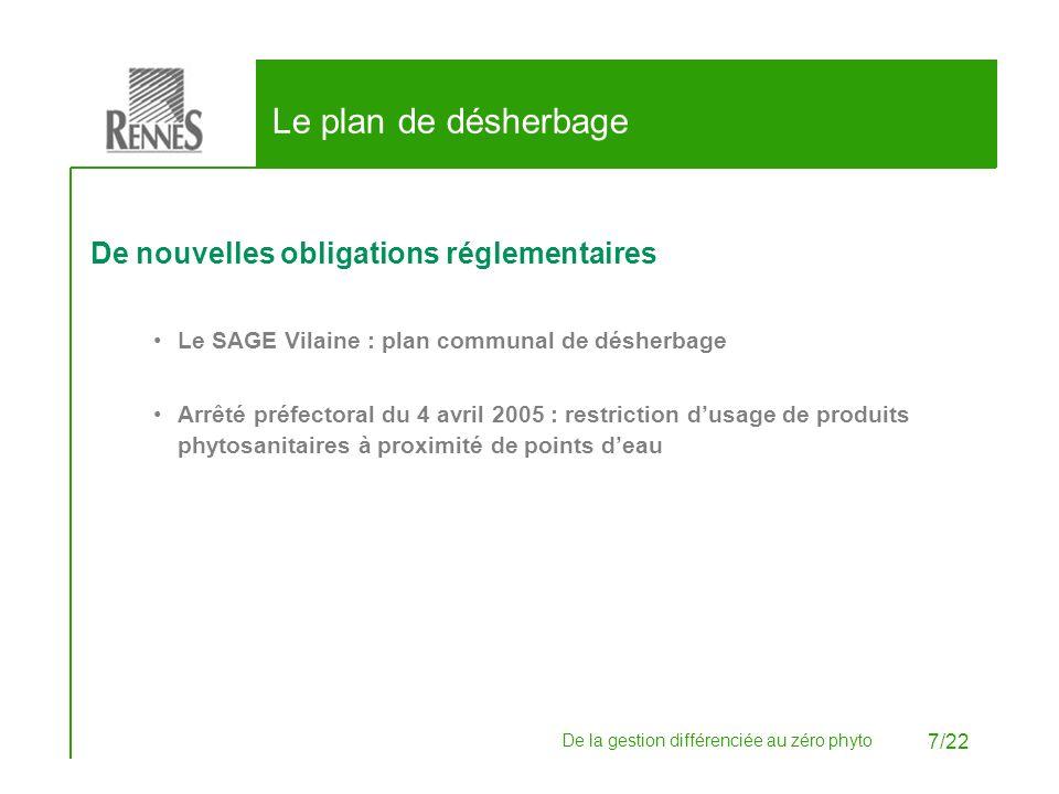 De la gestion différenciée au zéro phyto 7/22 Le plan de désherbage De nouvelles obligations réglementaires Le SAGE Vilaine : plan communal de désherb