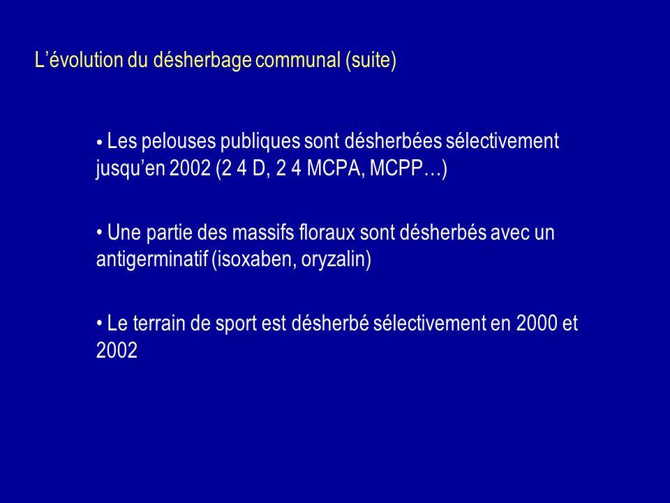 Lévolution du désherbage communal (suite) Les pelouses publiques sont désherbées sélectivement jusquen 2002 (2 4 D, 2 4 MCPA, MCPP…) Une partie des ma