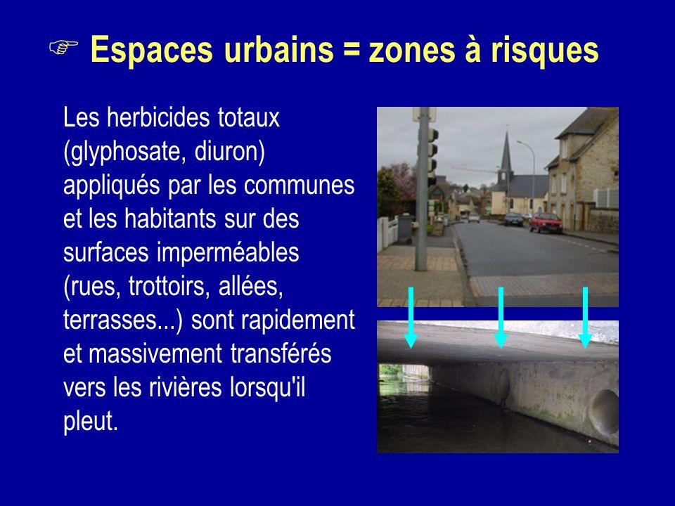 Espaces urbains = zones à risques Les herbicides totaux (glyphosate, diuron) appliqués par les communes et les habitants sur des surfaces imperméables
