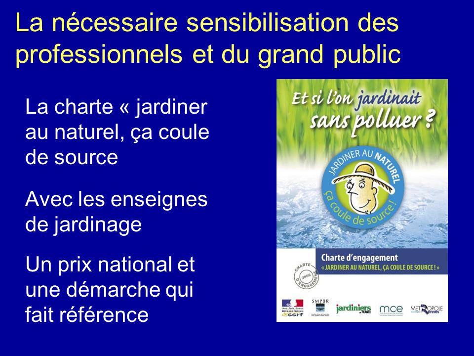 La nécessaire sensibilisation des professionnels et du grand public La charte « jardiner au naturel, ça coule de source Avec les enseignes de jardinag