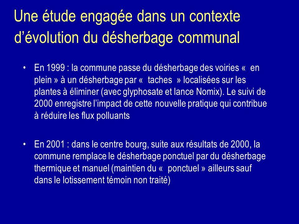 Une étude engagée dans un contexte dévolution du désherbage communal En 1999 : la commune passe du désherbage des voiries « en plein » à un désherbage