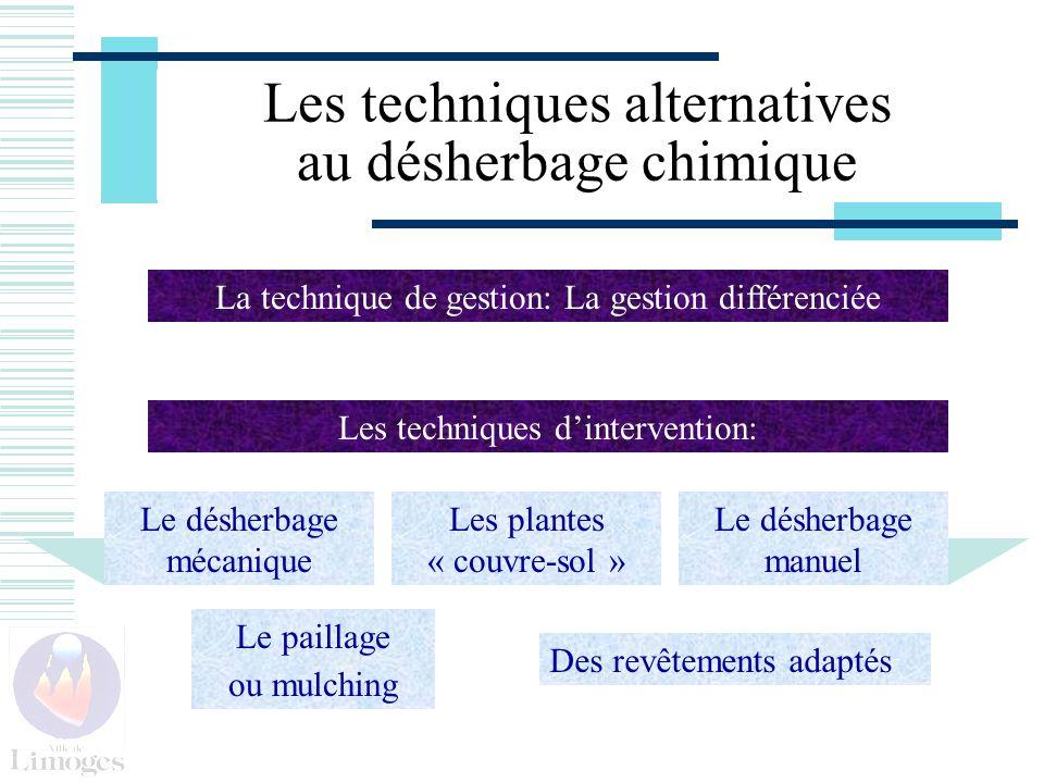 Les techniques alternatives au désherbage chimique Le paillage ou mulching Le désherbage manuel Le désherbage mécanique Les plantes « couvre-sol » La