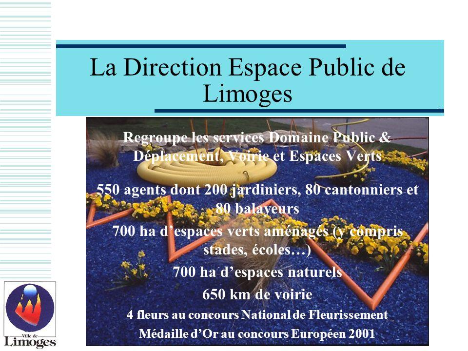 La Direction Espace Public de Limoges Regroupe les services Domaine Public & Déplacement, Voirie et Espaces Verts 550 agents dont 200 jardiniers, 80 c