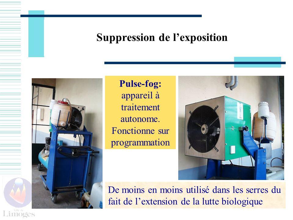Suppression de lexposition Pulse-fog: appareil à traitement autonome. Fonctionne sur programmation De moins en moins utilisé dans les serres du fait d
