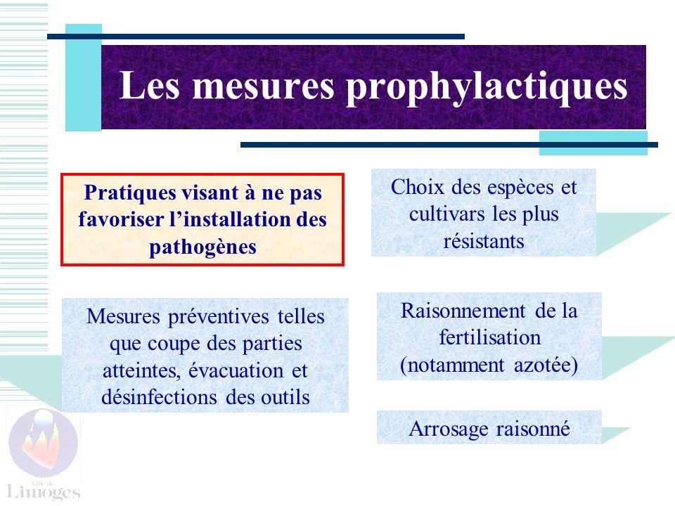 Les mesures prophylactiques Pratiques visant à ne pas favoriser linstallation des pathogènes Raisonnement de la fertilisation (notamment azotée) Choix