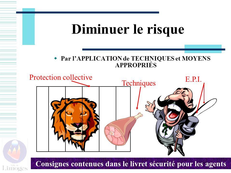 Diminuer le risque Par lAPPLICATION de TECHNIQUES et MOYENS APPROPRIÉS Protection collective E.P.I.