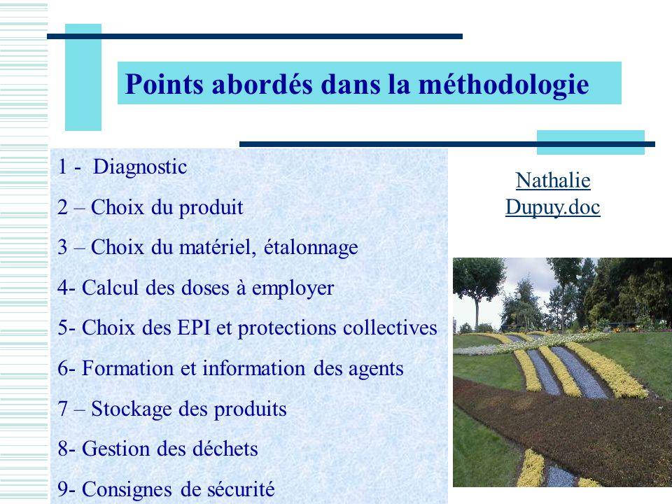 Points abordés dans la méthodologie 1 - Diagnostic 2 – Choix du produit 3 – Choix du matériel, étalonnage 4- Calcul des doses à employer 5- Choix des