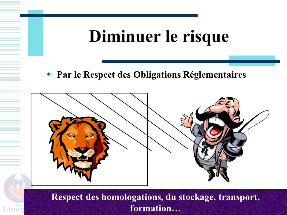 Diminuer le risque Par le Respect des Obligations Réglementaires Respect des homologations, du stockage, transport, formation…