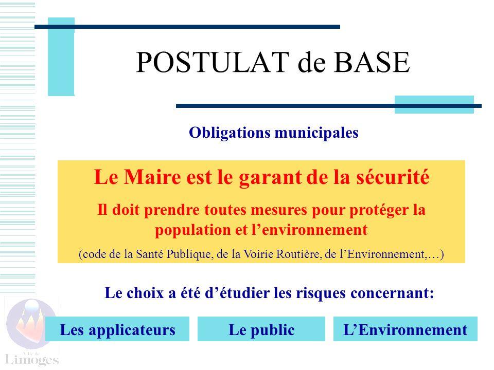 POSTULAT de BASE Obligations municipales Le Maire est le garant de la sécurité Il doit prendre toutes mesures pour protéger la population et lenvironn