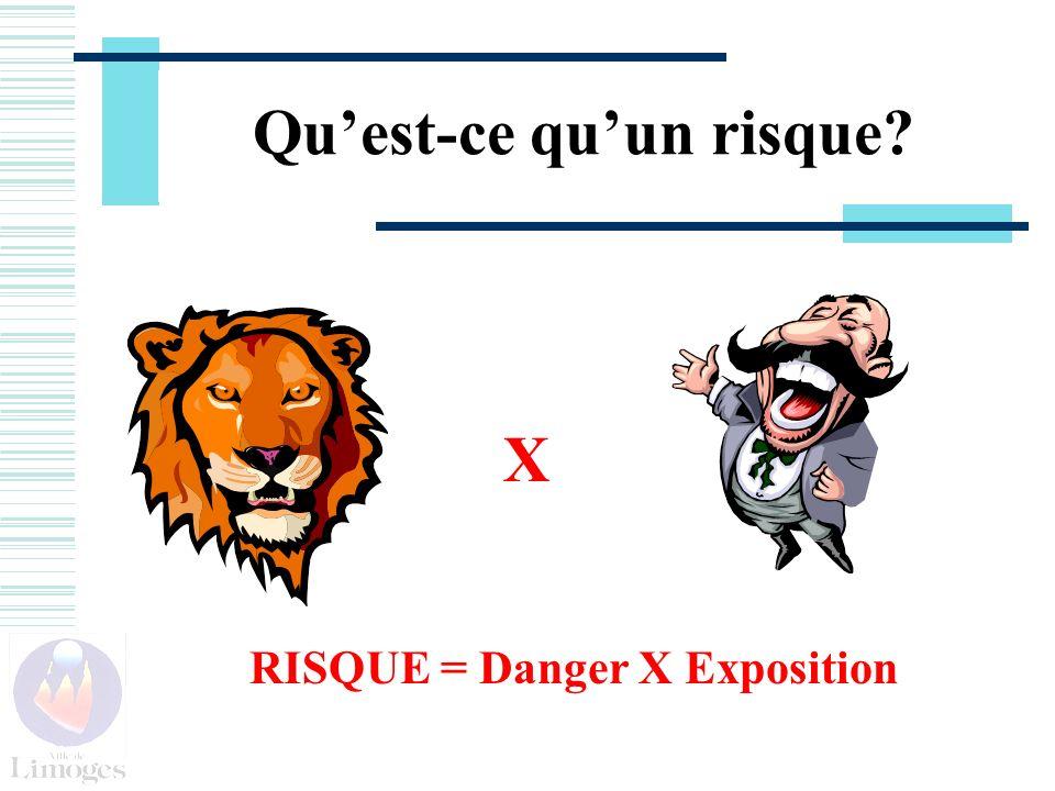 Quest-ce quun risque? RISQUE = Danger X Exposition X