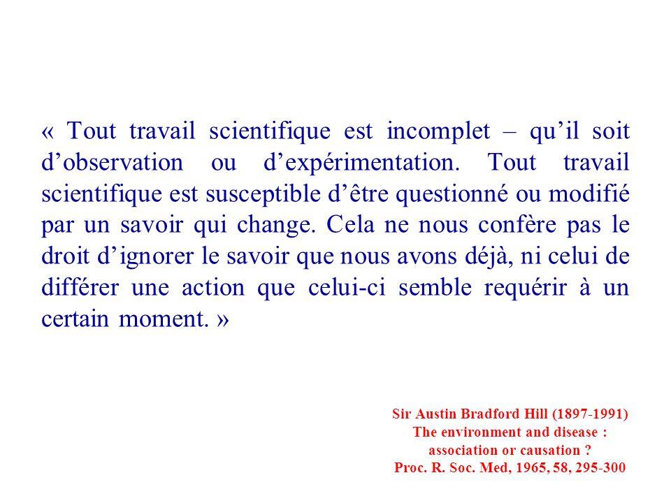 « Tout travail scientifique est incomplet – quil soit dobservation ou dexpérimentation. Tout travail scientifique est susceptible dêtre questionné ou