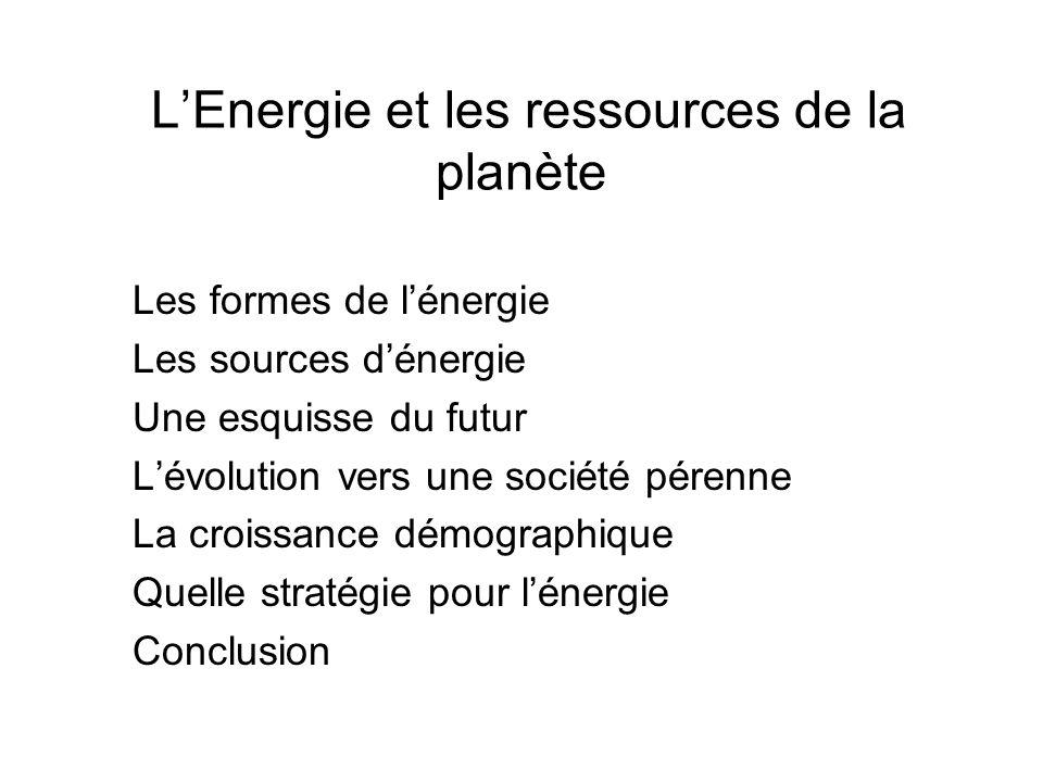 LEnergie et les ressources de la planète Les formes de lénergie Les sources dénergie Une esquisse du futur Lévolution vers une société pérenne La croi