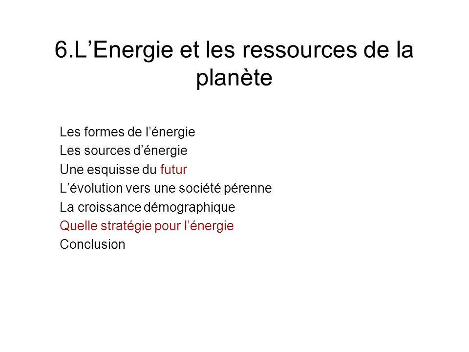 6.LEnergie et les ressources de la planète Les formes de lénergie Les sources dénergie Une esquisse du futur Lévolution vers une société pérenne La cr