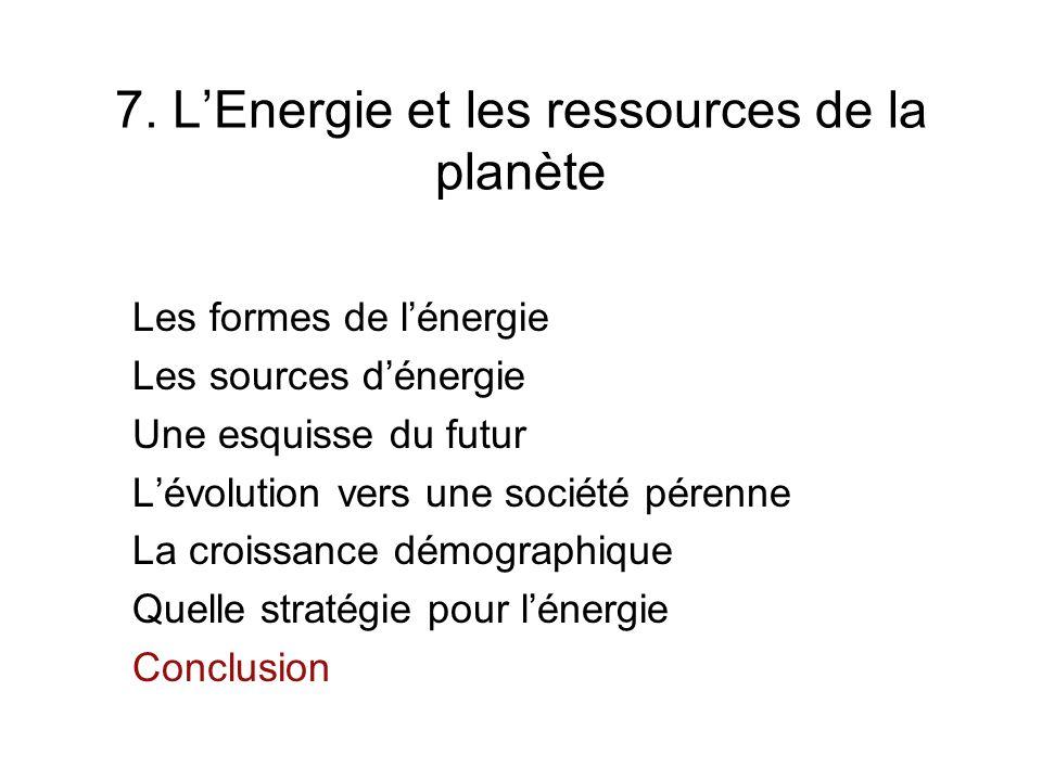 7. LEnergie et les ressources de la planète Les formes de lénergie Les sources dénergie Une esquisse du futur Lévolution vers une société pérenne La c