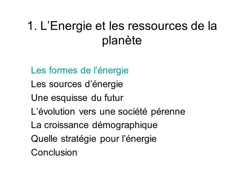 1. LEnergie et les ressources de la planète Les formes de lénergie Les sources dénergie Une esquisse du futur Lévolution vers une société pérenne La c